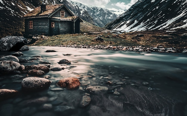 Northern landscape. house in the mountains