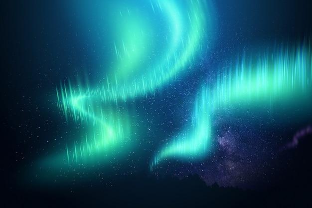 별이 빛나는 하늘 배경에 대해 오로라. 3d 일러스트레이션