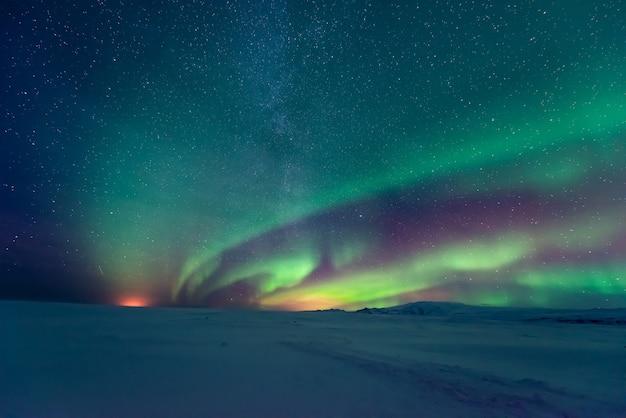 Northern lights aurora borealis over
