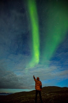 ノルウェー北部、ノールカップのオーロラ