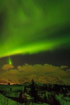 ノルウェーのロフォーテン諸島のオーロラ