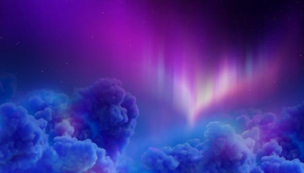 Северное сияние в полярном ночном небе, хлопковые облака