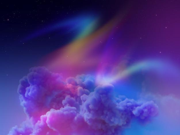 極夜空のオーロラ、