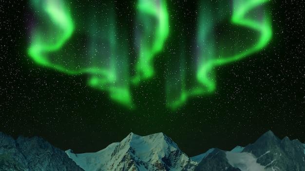 Северное сияние в горах Premium Фотографии