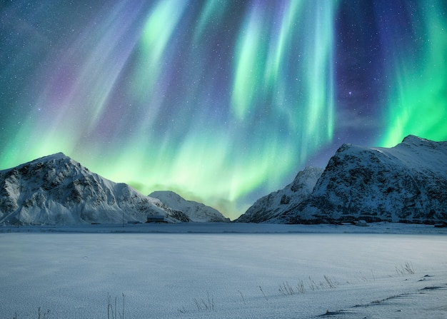Northern lights over mountain in winter