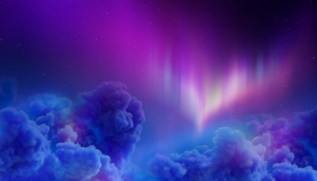 Northern lights in polar night sky, cotton clouds
