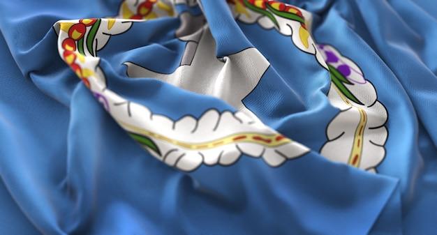 Northern mariana islands flag ruffled beautifully waving macro close-up shot