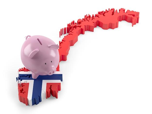 돼지 저금통에 노르웨이 국기 지도입니다. 3d 그림