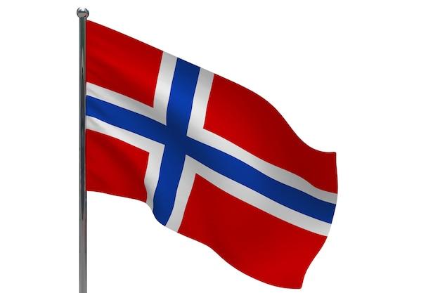 Флаг норвегии на шесте. металлический флагшток. национальный флаг норвегии 3d иллюстрации на белом
