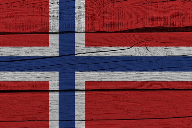 Norway flag painted on old wood plank