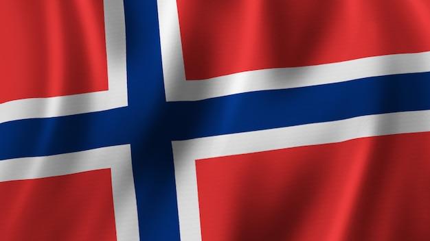 패브릭 질감으로 고품질 이미지로 근접 촬영 3d 렌더링을 흔들며 노르웨이 국기