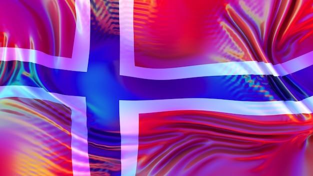 Lgbt 무지개 반사와 노르웨이 깃발