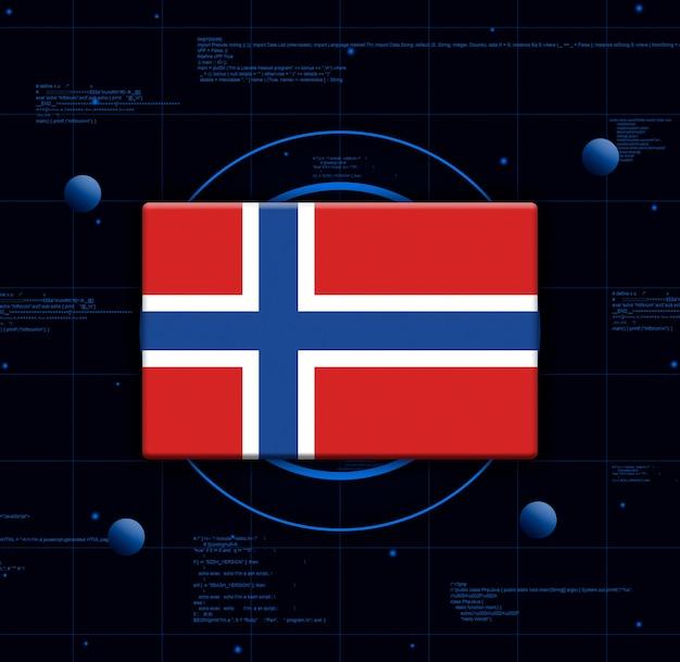 Флаг норвегии с реалистичными технологическими элементами, 3d-рендеринг