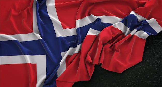 어두운 배경에 주름이 노르웨이 깃발 3d 렌더링