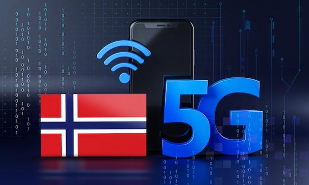 Норвегия готова к концепции подключения 5g. 3d визуализация смартфон технологии фона
