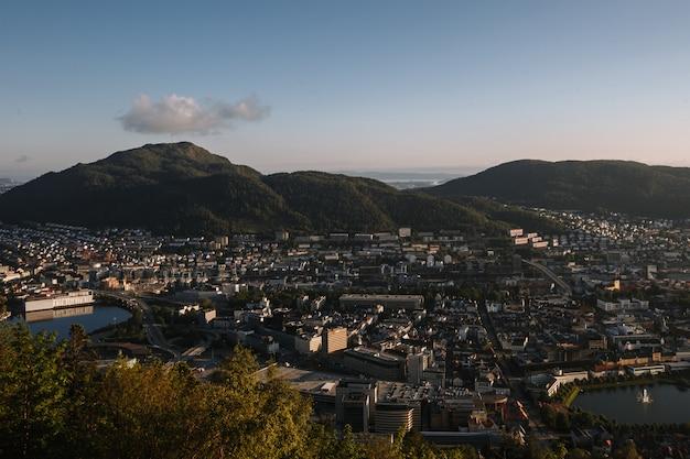 Norwegian city of bergen from a bird's eye view at sunset