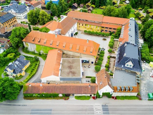 노르웨이 오슬로의 bygdoy 반도에서 노르웨이 문화 역사 박물관 또는 norsk folkemuseum 공중 파노라마보기