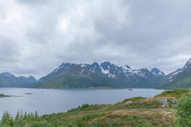 Norwegian summer landscape fjord, mountains, norway.