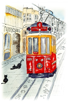 Nostalgic red retro tram on famous istiklal street.