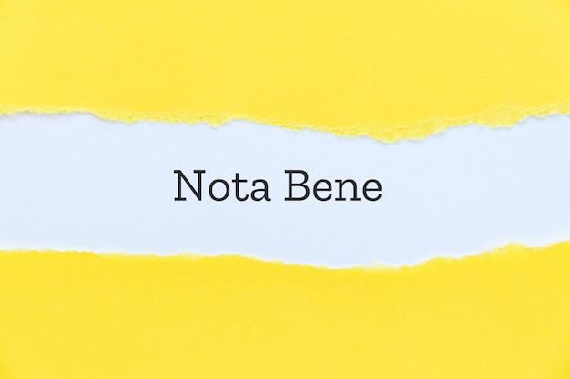 プレゼンテーションスライドの紙の背景に入力されたnotabene