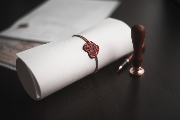 Notary's public pen and stamp on testament and last will. notary public tools.