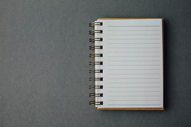 Note book on gray background