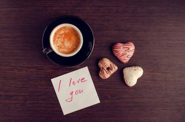 Note i love you with cup of coffee and cookies