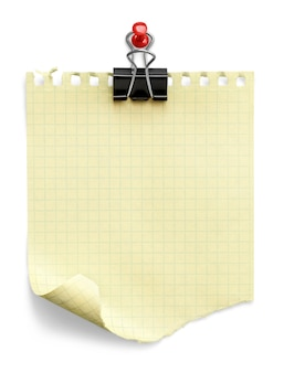 Note with a paper clip. isolated on a white background