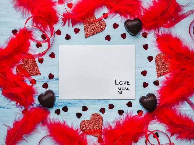 Note with sweet words of love. flat lay