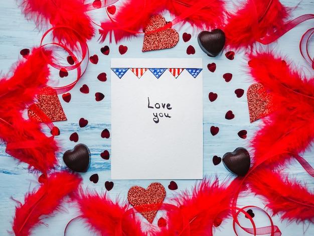 Записка со сладкими словами любви. плоская планировка