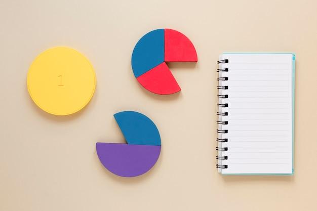 ノートブックと経済チャート