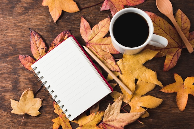 Notebook and coffee cup on autumn leaves background