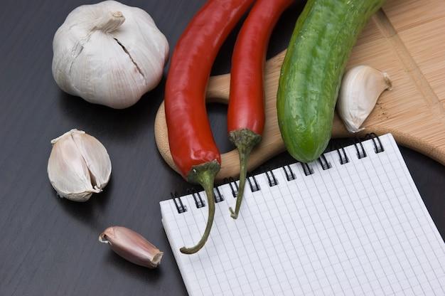 まな板でレシピや野菜を調理するためのノート