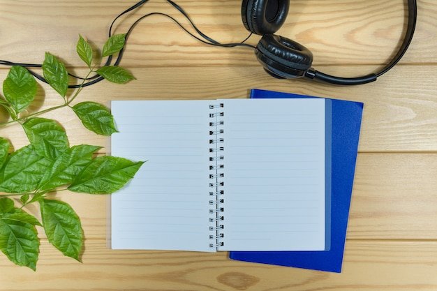 Notebook, headphone and branch of green leafs on wooden table.