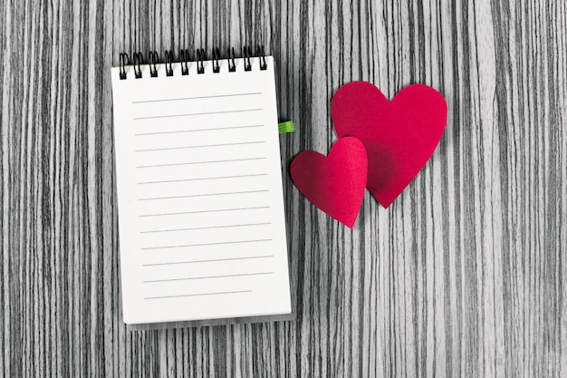 Notebook and hearts