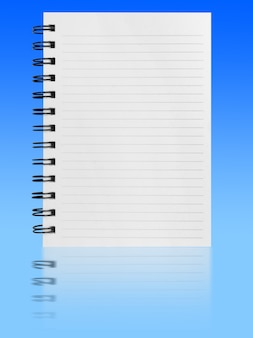 Notebook isolated on blue background