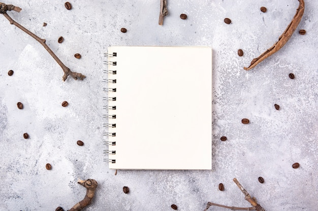 Notebook mock-up with branches