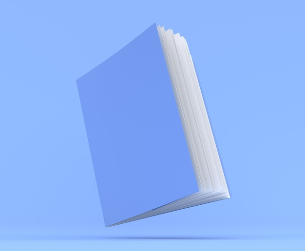 Notebook mockup blank cover book 3d render illustration blue notepad with realistic ajar pages