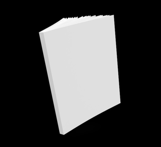 Notebook mockup blank cover book 3d render illustration white notepad with realistic ajar pages