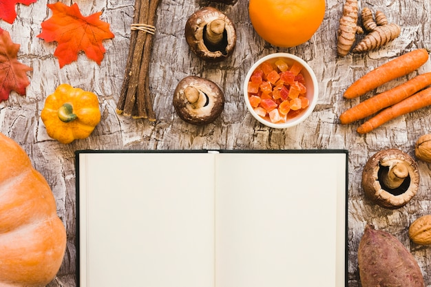 Notebook near autumn food