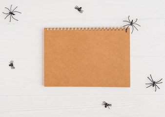 Notebook near decorating spiders