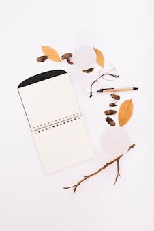 Notebook near snowballs and pen