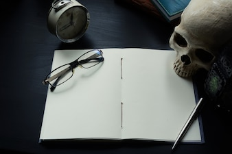 Notebook on the desk, Empty space on the notebook