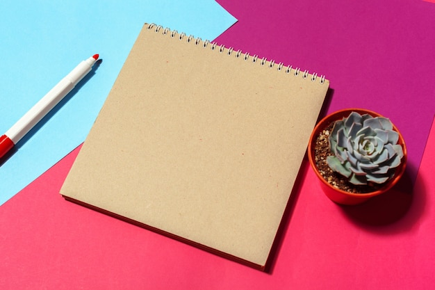 Notebook open page design on table