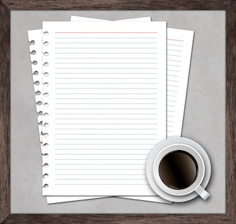 Notebook Paper with Cup of Coffee on Wood Frame background