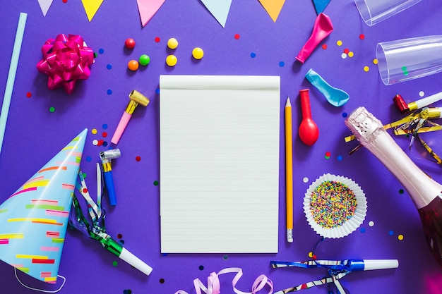 Notebook and party decorations