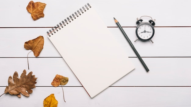 Notebook and pencil near leaves and alarm clock