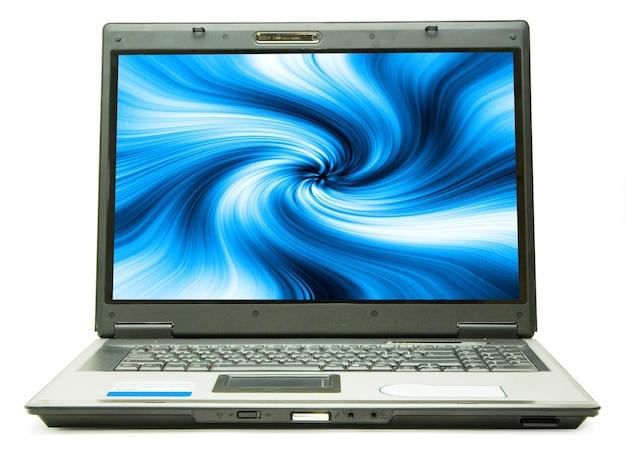흰색 바탕에 노트북 개인용 컴퓨터