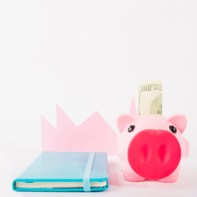 Notebook and piggy bank with money on white background