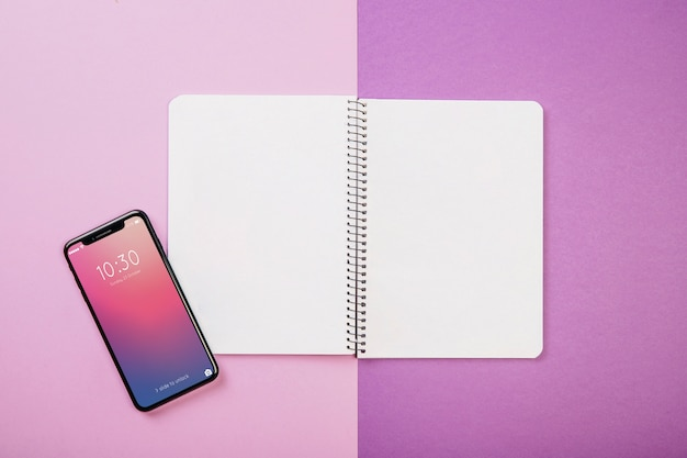 Notebook and smartphone
